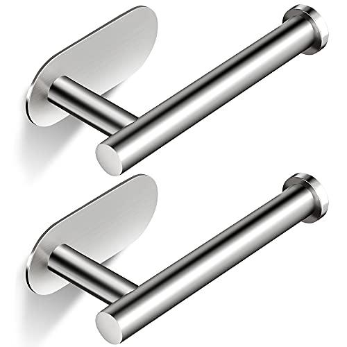 RUICER Portarrollos Baño Adhesivo Porta Rollos de Papel Higienico Acero Inoxidable Portarrollos Papel Higienico 2 Piezas (Plata)