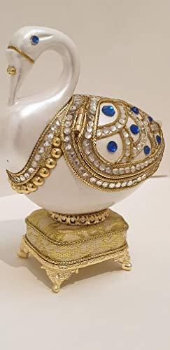 Caja de música de San Valentín con diseño de huevo de Fabergé, caja de regalo de San Valentín, caja de regalo de huevo real, hecho a mano, 3 quilates, diamantes de Swarovski, pulsera de rubí