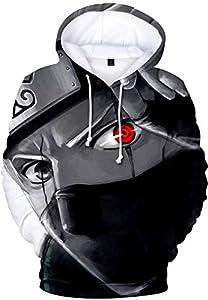 PANOZON Hombre Sudadera con Capucha Figura Impresa de Naruto Mangas Largas (M, A párpado Rojo-1)