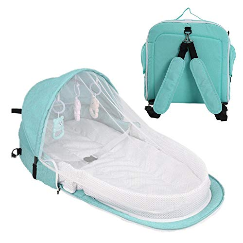 Portable Foldable Baby Travel Bed,Infant Sleeping Backpack with Toys,Bassinet for Baby