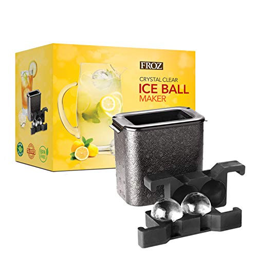 FROZ Crystal-Clear Ice Ball Maker - 2 Cavity Sphere Ice Mold Makes Two Large 2.35 Clear Ice Balls