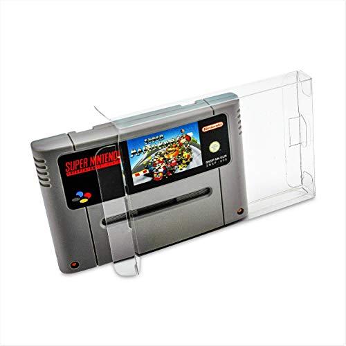 10 x Klarsicht Schutzhüllen für Super Nintendo SNES Modul 0,3mm Passgenau und Glasklar-PET-Reset Retro Game Protectors-cases-box-Staubdicht-UV-Schutz