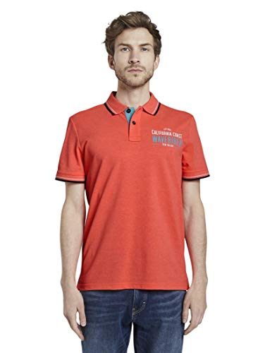 TOM TAILOR Herren Poloshirts Poloshirt mit Schrift-Print neon Peach,XXL