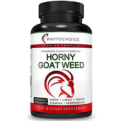 Fast Acting Horny Goat Weed Extract with 10X More Icariins-All Natural Extra Strength Herbal Energy Booster with Maca Root-Panax Ginseng-Enhance Desire Stamina Performance Endurance for Men and Women