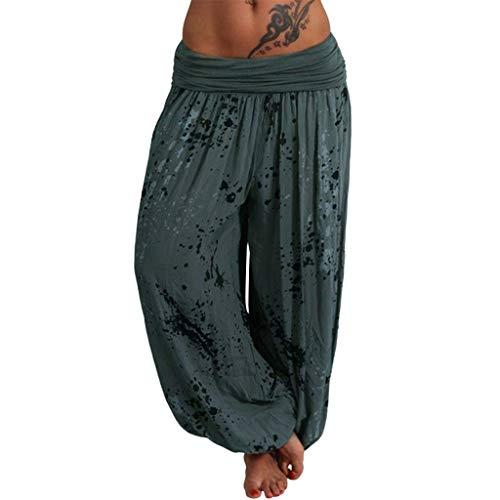Pantalons aux Femmes FNKDOR Décontractée Imprimé Largeur en Vrac Jambe Un Pantalon(Armée Verte,S)