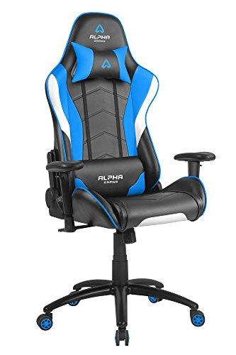 Alpha Gamer Asiento Gamer ergonómico, Metal, Azul, 53 x 55 x 136 cm