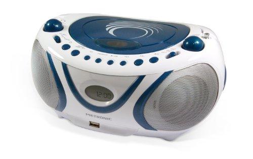Metronic 477115 Radio CD- MP3 Boombox Wave Weiß/Blau