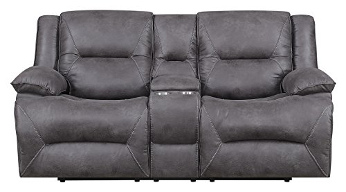 "MorriSofa Everly Reclining Love Seat, 80.5"" x 38"" x 40.5"", Grey with subtle brown undertones"