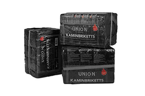 UNION 30kg 54 Stück Kaminbriketts Braunkohlebriketts Klütten für Ofen Kamin Feuerstellen