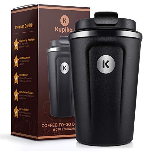 KUPIKA Kaffeebecher to go, Thermobecher [350 ml] - Coffee to go Becher 100% auslaufsicher - Doppelwandiger Isolierbecher aus Edelstahl - Travel Mug Reisebecher für heiße und kalte Getränke