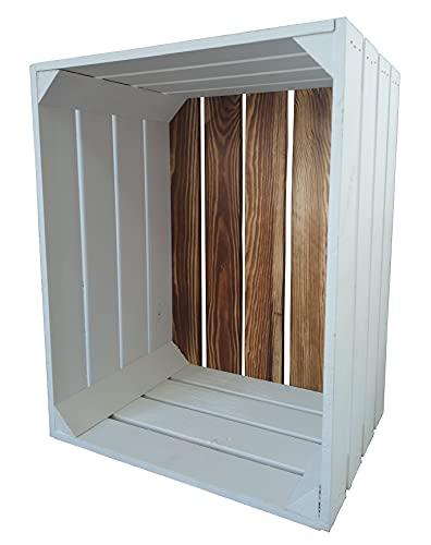 Caja de madera / caja de fruta / caja de vino / caja de manzanas / caja decorativa blanca con fondo flameado (50 x 40 x 30 cm)