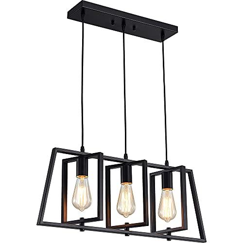 ZHU YAN Modern Industrial 3-Light Pendant Lighting for Kitchen Island,Matte Black Metal Hanging Pendant Light Open Linear Hanging Light Adjustable Height for Dinning Room Foyer