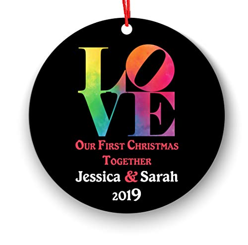 Our First Christmas Together Ornament 2018, Love Christmas Ornament 2018, Our First Xmas Together Gifts for Boyfriend Girlfriend, Gay First Holiday Anniversary Elegant Couple Present