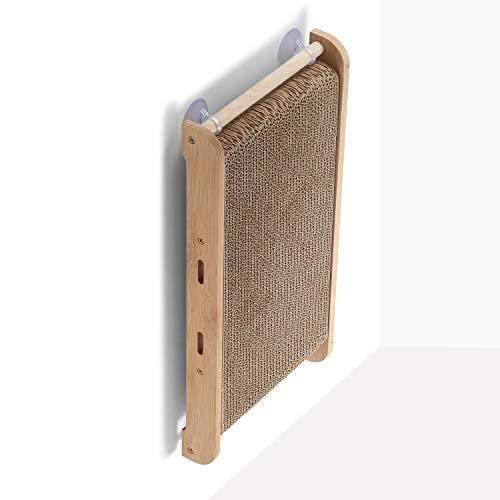 Supremery Rascador para gatos de cartón con hierba gatera, para gatos pequeños y medianos con 4 ventosas para fijación a la pared en superficies lisas, 43 x 24 x 5 cm