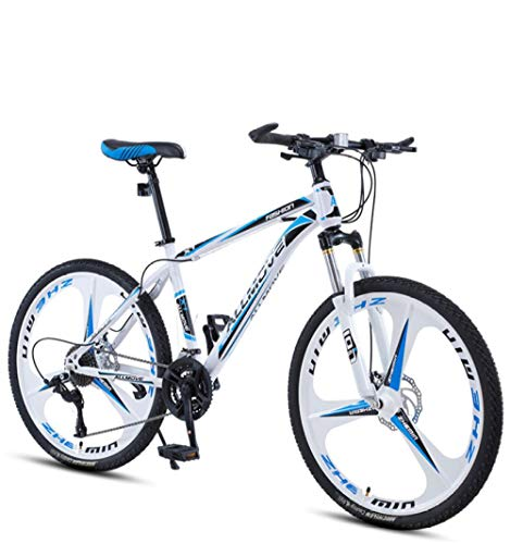 DGAGD 26 inch Mountain Bike Male and Female Adult Variable Speed Racing Ultra-Light Bicycle tri-Cutter-White Blue_30 Speed