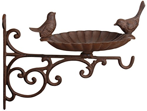 Fallen Fruits FB163 Bird Bath/Feeder with Wall Bracket-Brown