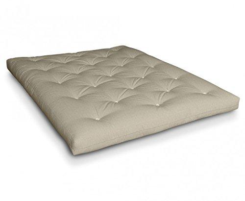 Futon Naoko Baumwollfuton Futonmatratze mit 6X Baumwolle von Futononline, Größe:200 x 200 cm, Color Futon SE Amazon:Leinen/Filz weiß