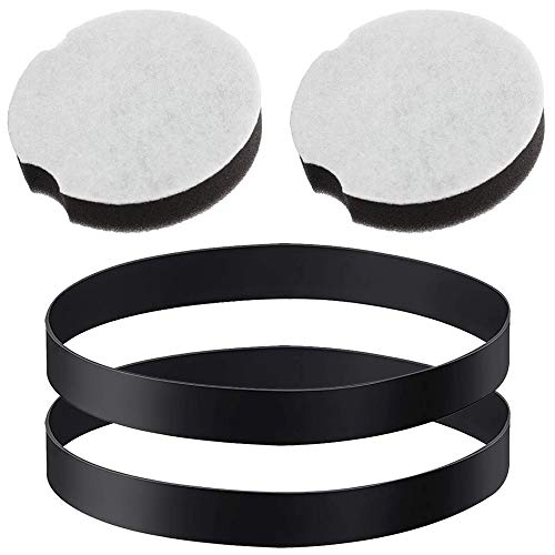 MEROM 2 Pcs 1604895 Replacement Belts for Vacuum Cleaner and 2 Pcs1604896 Replacement Filter Compatible with Bissell PowerForce Compact for 2690, 1520, 2112 Series Vacuum Cleaner