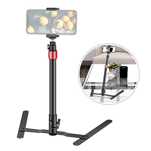 Neewer 22-inch Aluminum Alloy Photo Copy Stand Projector Stand Webcam Stand with Phone Clamp Overhead Phone Mount Adjustable Tabletop Cellphone Stand for Online Video Demo Drawing