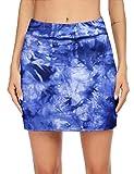 Ekouaer Women's Active Skorts Tie Dye Pleated Skirt for Golf Tennis Training Casual Sportswear
