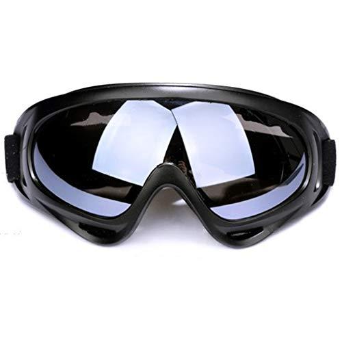 Gafas de motocicleta, correa ajustable a prueba de viento a prueba de polvo a prueba de polvo a prueba de rayas Tácticas de combate Gafas militares Gafas de seguridad protectoras,Silver plated lenses