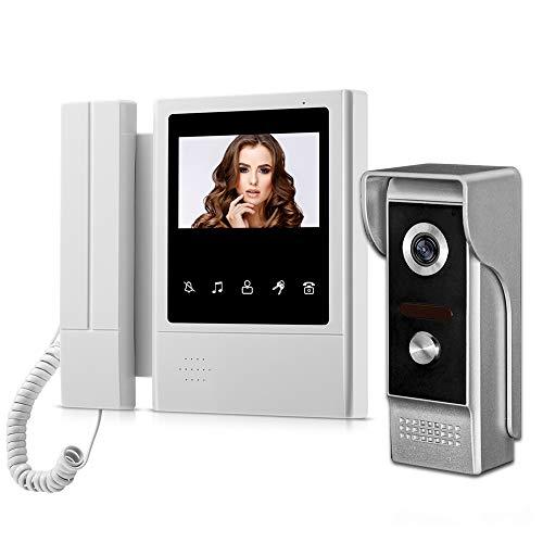 HFeng 4.3 '' color TFT Video Doorphone Video Timbre de la puerta Sistema de timbre para el hogar, 700TVL IR Cámara de visión nocturna al aire libre (1 cámara 1 monitor)