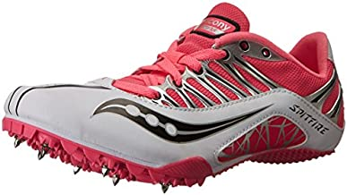 Saucony Women's Spitfire Track Spike Racing Shoe,White/Pink,12 M US
