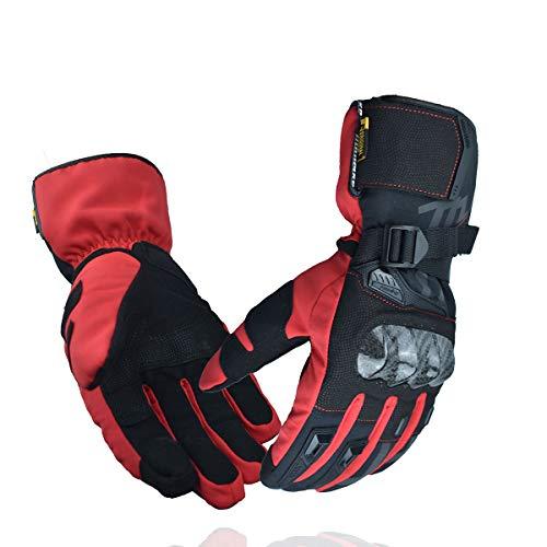 MADBIKE RACING EQUIPMENT Guantes de Moto de Invierno Guantes de Moto de protección de Fibra de Carbono con Pantalla táctil Guantes Deportivos (Rojo, M)