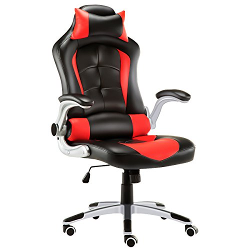 JL Comfurni Gaming Chair Ergonomic Swivel Executive Office Chair High Back Heavy Duty Home Office Computer Desk Chair Faux Leather Rocking Racing Chair (Black & Red) …