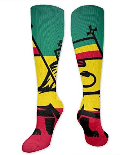 Calcetines de compresión de Judah Lion con una bandera Rastafari para hombres y mujeres, el mejor atlético y médico graduado para hombres y mujeres, correr, vuelo, viajes