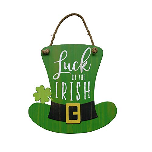NIKKY HOME St Patrick#039s Day Decoration Door Sign Welcome Green Top Hat Shamrock Clover Hanging Wood Decor Luck of The Irish for St Patricks Day Party 12 x 12 Inches
