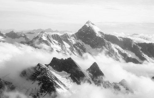 Bilderdepot24 Vlies Fototapete - Mount Cook - Neuseeland - schwarz Weiss - 230x150 cm - mit Kleister – Poster – Foto auf Tapete – Wandbild – Wandtapete – Vliestapete