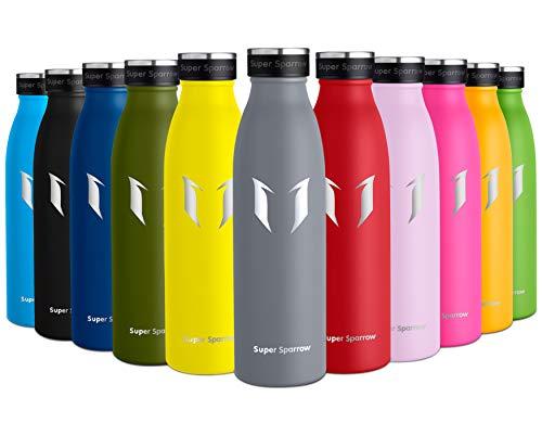 Super Sparrow Edelstahl Trinkflasche - Kleinmaul Isolierflasche - 350ml/500ml/750ml - Sport-Wasserflasche - Auslaufsichere Kappe - BPA-frei - Ideale Thermosflasche