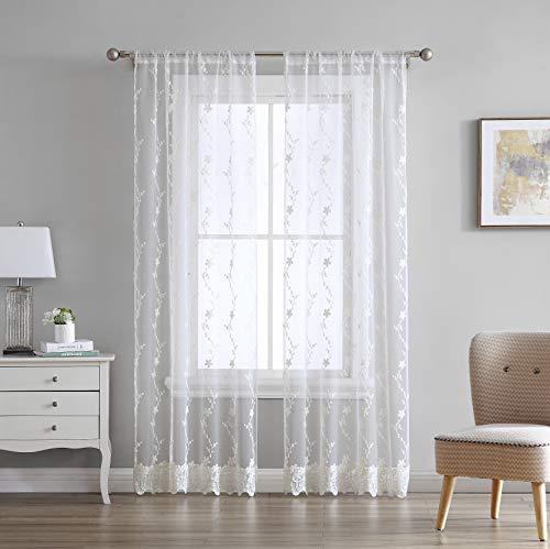 "Laura Ashley Melody Sheer Window Curtains, 84"", Ivory, 2 Panels"