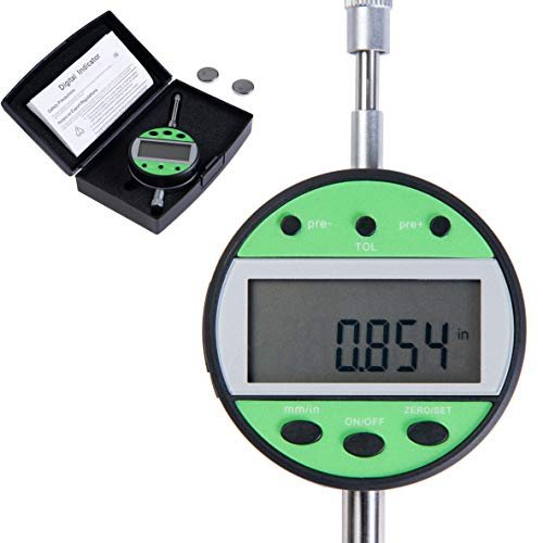 Beslands Digital Dial Indicator 1''/25.4mm Probe Test High Resolution : 0.0005''/0.01mm Accuracy: 0.03mm Electronic Super Precision Inch/Metric Conversion 0-1 Inch/25.4 mm with LCD