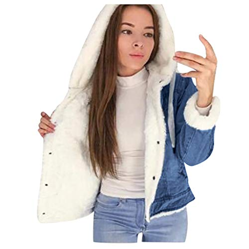 Evangelia.YM Women Casual Fleece Denim Hooded Pocket Jacket Coat - Ladies Long Sleeve Winter Warm Hasp Jeans Overcoat (White, L)