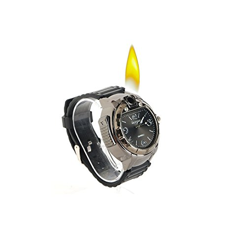 Novelty Real Watch with Collectable Butane Cigarette Cigar Lighter + Small Keychain (Assorted) Included.