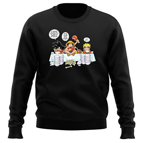 Pull Noir Parodie DBZ, One Piece et Naruto - Naruto, Sangoku et Luffy - La Recette d'un Bon Manga : (Sweatshirt de qualité Premium de Taille 3XL - imprimé en France)
