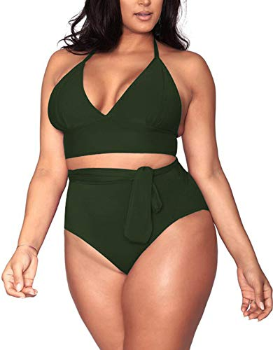swimsuit for large bust and tummies Pink Queen Women's Halter Plus Size Two Piece Swimsuits High Waisted Bikini Set Swimwear