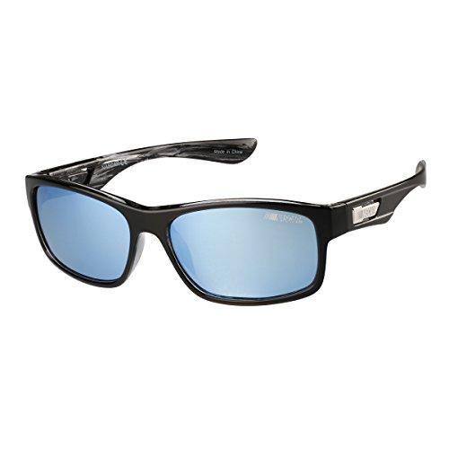 NASCAR Racerx 104p - Gafas de sol polarizadas redondas polarizadas, 59 mm, color negro brillante