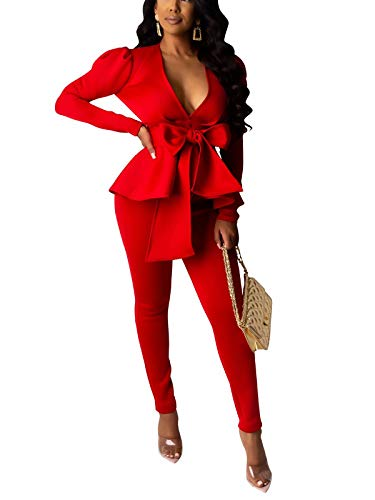 Pants and Blazer Set for Women Ruffle Hem Peplum Blazer with Bodycon Long Pants Suit 2 Piece Business Outfits