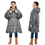 Kato Tirrinia Oversized Sherpa Hoodie Sweatshirt Blanket, Soft Warm Cozy Wearable Giant Hoody Front Giant Pocket Sweater for Teens, Boys, Girls, Youth, Kids (7-15yr) Ash Grey