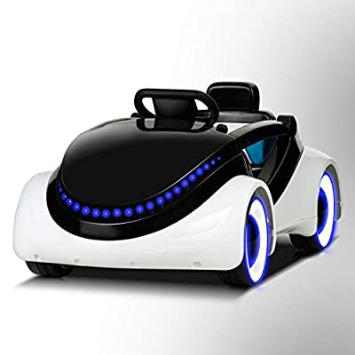 Uenjoy Electric Kids Ride On Cars Battery Motorized Vehicles with Remote Control, LED Lights, Music, Story Playing, Safety Lock, White