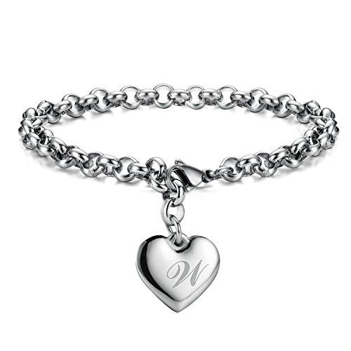 Initial Charm Bracelets Stainless Steel Heart Letters W Alphabet Bracelet for Women