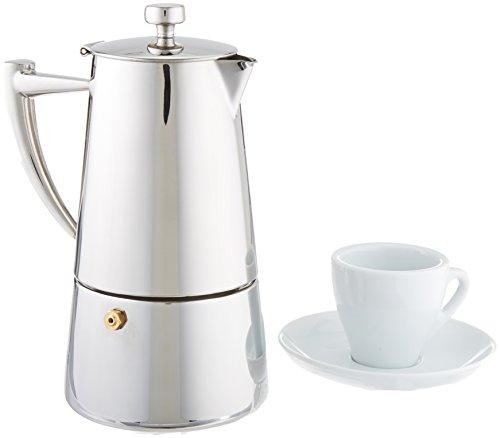 Cuisinox SET-6R66 Set of 6 Espresso Cups and Roma 6-Cup Espresso Coffeemaker, Silver
