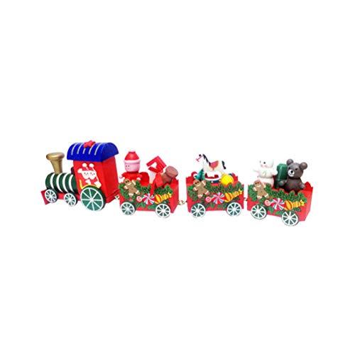 BESTOYARD Trenino In Legno Natale Con Babbo Natale Pupazzo Di Neve Natale Decorazioni Albero Di Natale Legno