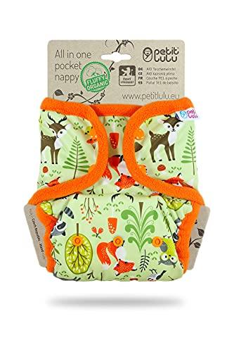 Petit Lulu AIO Taschenwindel One Size (4-15 kg) Druckknöpfe | Fluffy Organic | Wiederverwendbare & Waschbare Windel | Bambus & Biobaumwolle Einlagen (Waldtiere)