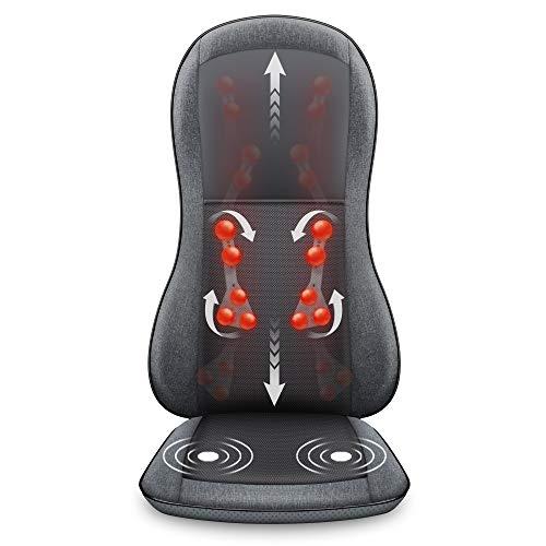 Comfier Massagesitzauflage mit Wärme, 2D/3D Shiatsu Massageauflage für Schulter und Rücken, Rückenmassagematte mit Wärmefunktion und Vibrationsfunktion