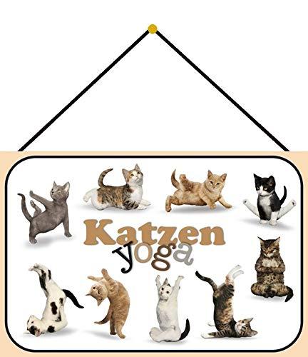 Blechschild mit Kordel 30 x 20 cm Katzenyoga - Blechemma