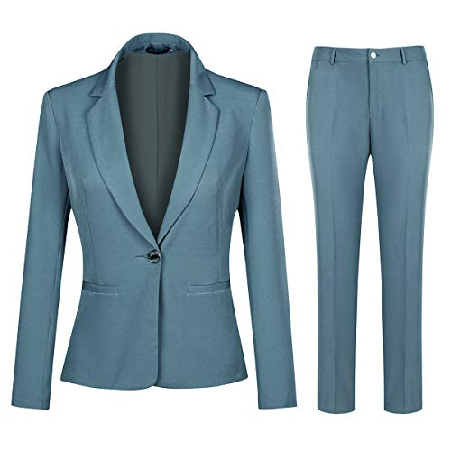 YYNUDA Damen Business Hosenanzug Slim Fit Blazer mit Anzughosen Elegant 2 Tellig Anzug Set für Office Hochzeit